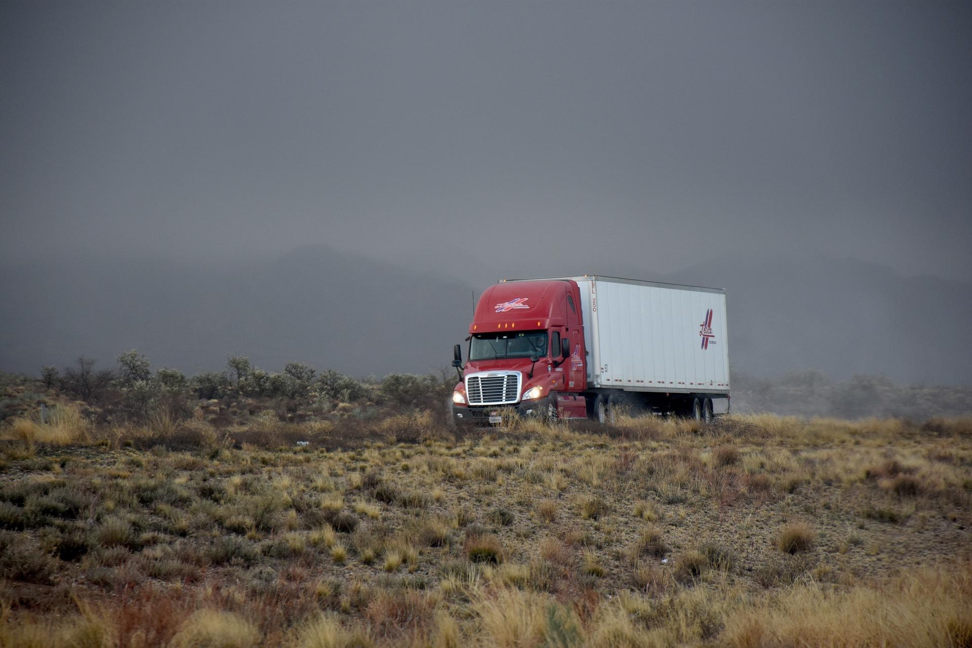 Semi-truck driving