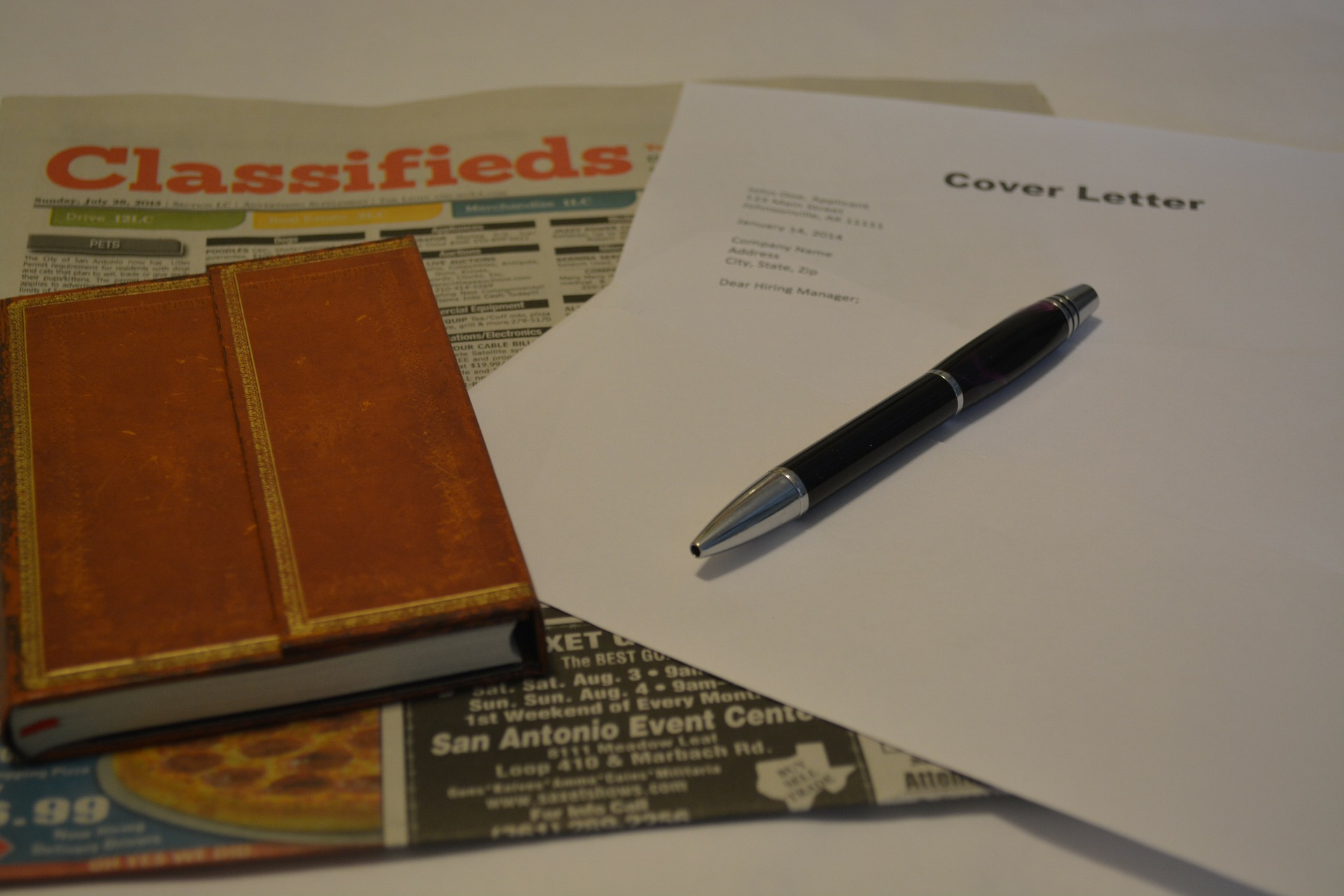 Job search with classified and cover letter